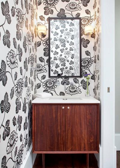 Inspiracje tapety w małych łazienkach
