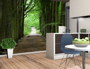 wnętrze inspirowane naturą- Fototapeta las
