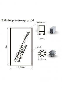 Przód pojedynczego modułu ogrodzenia