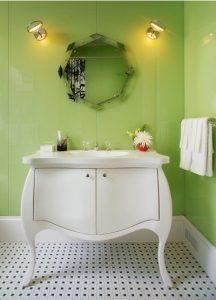 Inspiracje odcienie zieleni szkło łazienka